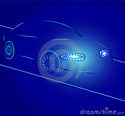 Background from a car silhouette in neon light