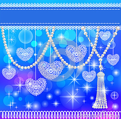 Background card with hearts lace and pearls