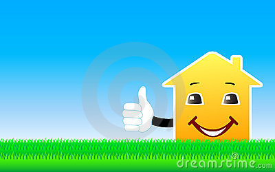 Background with cartoon house showing thumb up