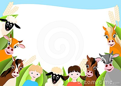 Background with children and happy farm animals