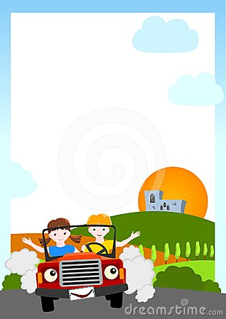 Background with children in red car