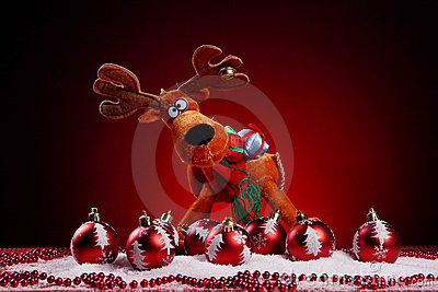 A background of christmas toys composition