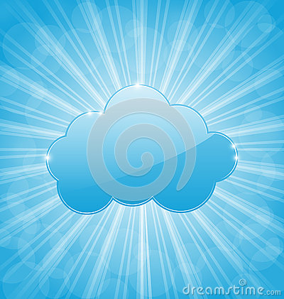 Background with cloud and show light rays
