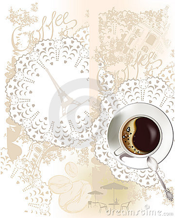 Background with a coffee cup