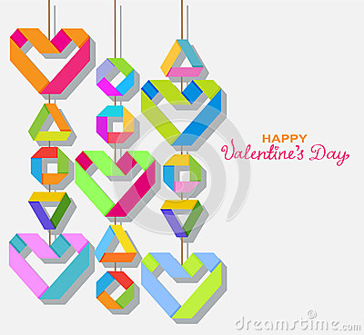 Background with color origami paper hearts