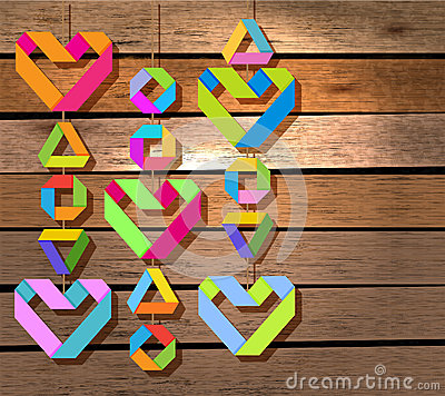 Background with color paper hearts