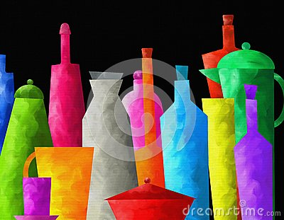 Background with colored bottles