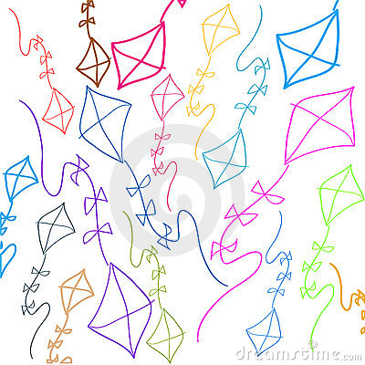 Background with colored kites