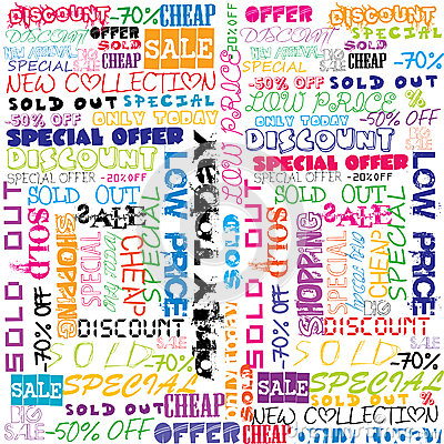 Background with colored sales and sold announcements