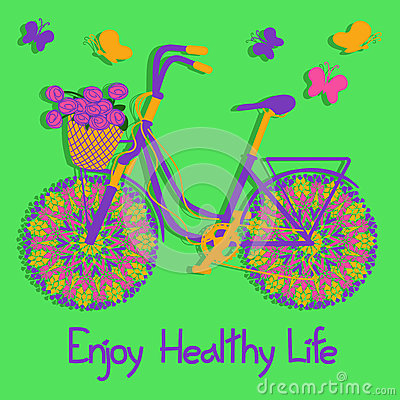 Background with colorful eco bicycle