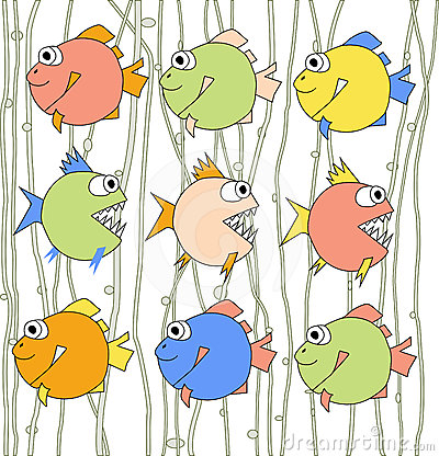 Background with colorful fishes