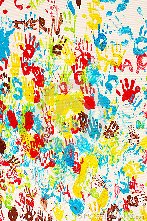 Background colors. Painted hands