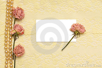 Background with cream silky, pearls and roses