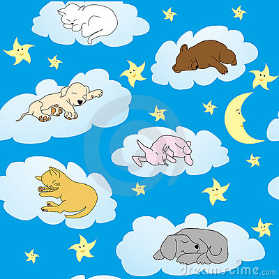 Background with cute animals sleeping
