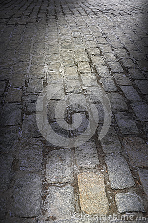 Background Dark Cobblestone Street