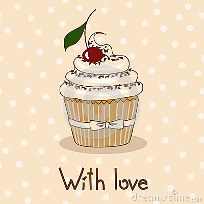 Background with delicious cupcake