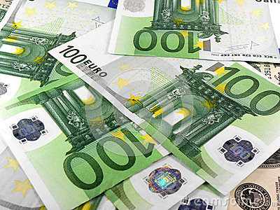 Background with different european union banknotes