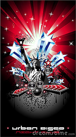 Background for Disco Flyers with USA Flag motive