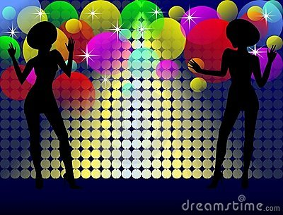 Background with disco girls