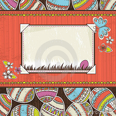 Background with easter eggs and label for text
