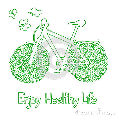 Background with eco bicycle