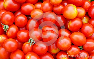 Background with ecological cherry tomatoes