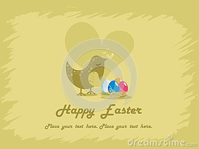 Background with egg in nest and bird