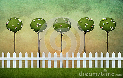 Background of fence, lawn and clouds