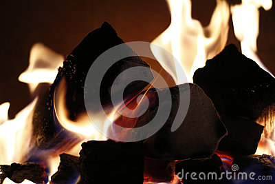 Background of flames from a fire place