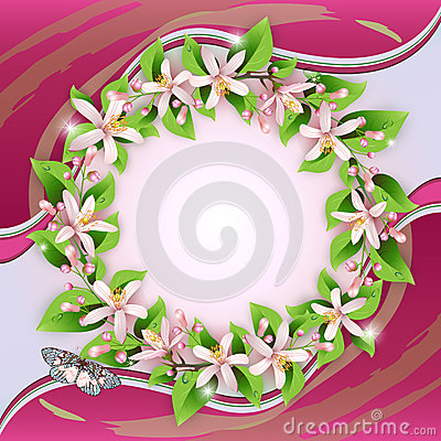 Background with flower wreath