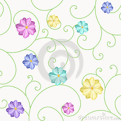 Background with flowers and curls