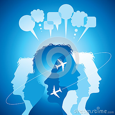 Background of flying planes with communicate peopl