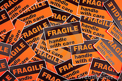 Background of fragile stickers