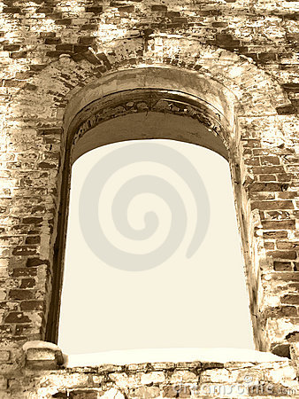 Background frame of ancient ruin arc window sepia