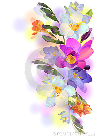 Background with freesia flowers and branches