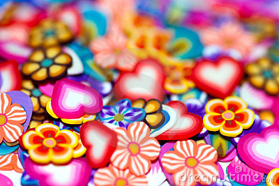 Background gentle flowers, petals and hearts