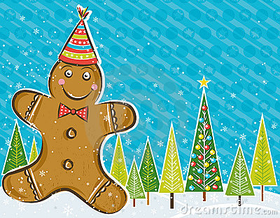 Background with Gingerbread man,