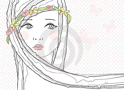 Background with  girl and flowers in her hair