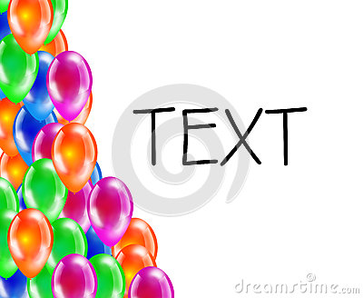 Background of glossy colored balloons with space for text.