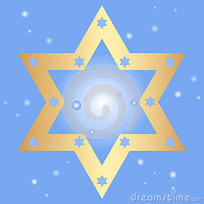 Background with golden star of David