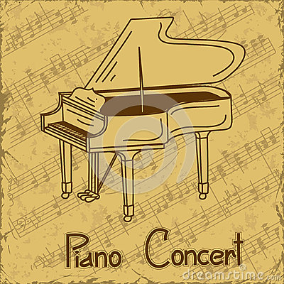 Background of grand piano and music stave