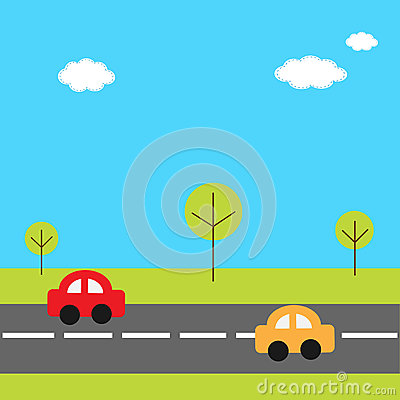 Background With Grass Trees Road And Cartoon Cars Vector Illustration