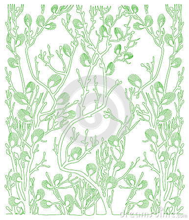 Background with green plants - spring - vector Vector Illustration