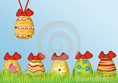 Background: Happy Easter with colored eggs
