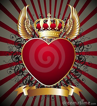 Background With Heartwings And Gold Royal Crown Stock