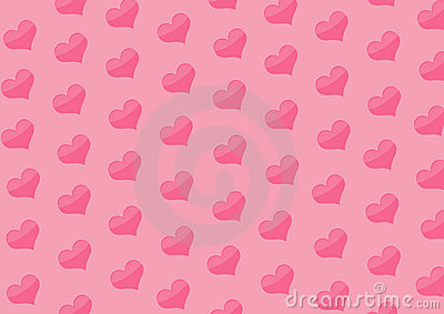 Background with hearts of pink color
