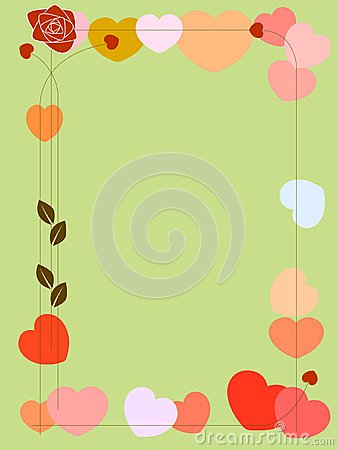 Background with hearts and rose