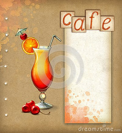 Background with illustration of cocktail