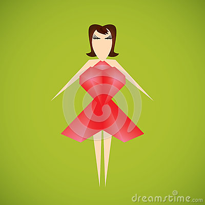 Background illustration with woman in romance red dress