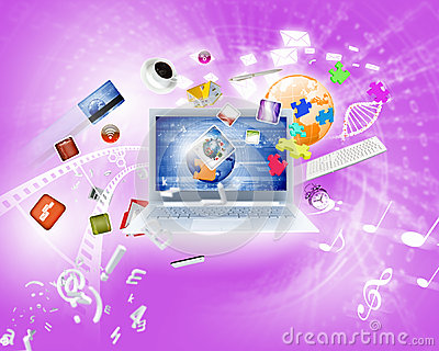 Background image with laptop